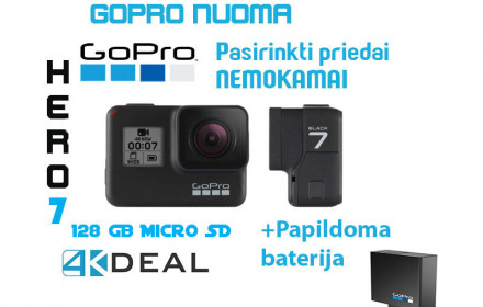 GoPro Hero 7 Black su 128 GB atmintimi