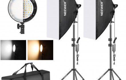 Dvi led lempos su soft box